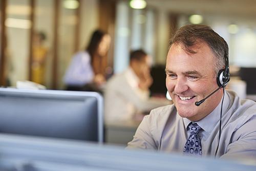 Call center man on headset