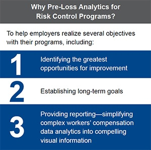 A chart showing the     value of pre-loss analytics for risk control programs.